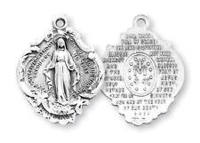 "Needzo LTG 1 1/16"" Womens Sterling Silver Miraculous Hail Mary Medal w 18"" Chain"