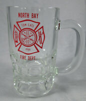 Vintage 1966 glass beer mug North Bay Fire Department Florida