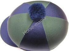 HY blu marino/verde Pom Pom Equitazione Cappello seta Copertura per casco da fantino TAPPI Taglia Unica