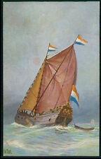Netherland hunter Historical sail boat original old 1920s postcard