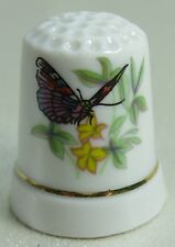 Vintage Collectible Souvenir Thimble Butterfly & Yellow Flowers - Porcelain