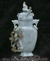 "11,4 ""chinois émeraude jade glace émeraude fleur oiseau 2 anneau bouteille vase"