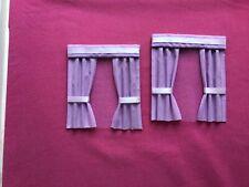 "2 lavender dolls house curtains 3.5"" x 4"""