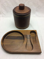 VINTAGE WOOD 2 TOBACCO PIPE HOLDER DISPLAY STAND RACK W/ GLASS JAR AND LID