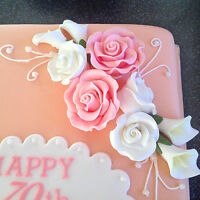 Edible sugar roses, wedding cake decoration, anniversary or birthday cake topper
