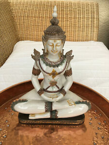 Thai Buddha India Figur Tempelwächter Feng Shui Lotussitz Statue 32 cm NEW