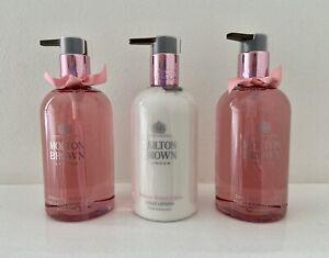MOLTON BROWN Rhubarb & Ros 2  Hand Wash & 1 Lotion Luxury Gift Set  3 x 300ml