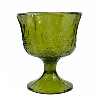 Indiana Glass Green Harvest Grape Footed Compote Or Planter Vintage