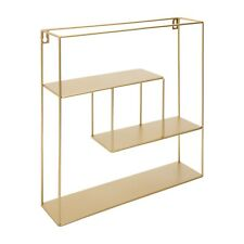 Kusso Hanging Gold Square Wire Shelf Unit with Three Shelves for Home and Office