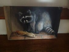 "ORIGINAL OIL BOARD""Racoon With Corn""PAINTING Signed Art B.Wheeler 1983 Vintage"