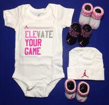 JORDAN BABY GIRLS Outfit Gift Set Bodysuit, Booties & Cap 5-pc White & Pink 0-6M