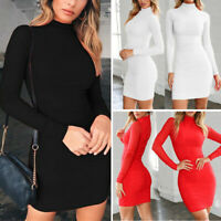 Women's Long Sleeve Turtleneck Solid Bodycon Sexy Mini Dress Club Cocktail Party