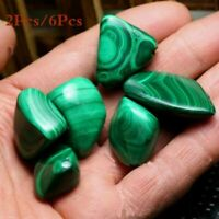 2/6 Pcs Malachite Green Tumbled Stone Healing Reiki Chakra Crystal Gemstone