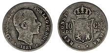 10 Cents Philippines - PESO Filipinas. Alfonso XII 1881. Fine / BC +