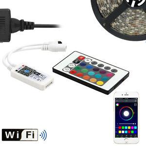 Black PCB 5M 5050 RGB 300 LED Strip Light Waterproof+12V Power+WIFI 24Key Remote
