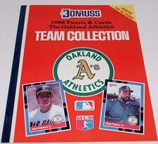 1988 UNCUT OAKLAND A's ATHLETICS TEAM SET DONRUSS PUZZLE & 27 TRADING CARDS BOOK