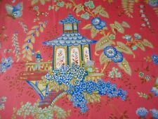 Vintage Retro French Chinoisoire Floral Pagoda Cotton Fabric~Coral Blue ~Boussac