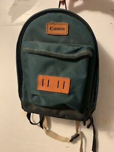 Vintage Canon Green Backpack Field Nylon With Full Grain Leather Accents