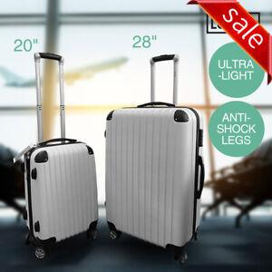 "2 Pcs Set 20"" 28"" Luggage Hard Suitcase Lightweight Anti-Shock Legs TSA Lock"