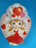 ++Rare VTG RELPO Valentine's Day Planter Girl Big Hat Hearts 6601 Japan - AS IS