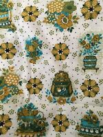 "1 Yd 16"" Vtg 50s 60s Pennsylvania  Dutch Turquoise Gold Kitchen Hex 36 W Fabric"