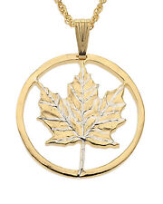 "Maple Leaf Canada Coin Pendant & Necklace. Hand cut -1 1/8"" diameter ( # 747 )"