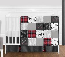 Gray Black Red Woodland Arrow Rustic Patch Baby Boy Bumperless Crib Bedding Set