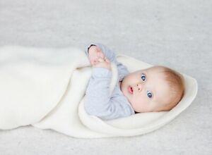 Merino wool organic baby blanket pure soft white KBT GOTS IVN 65x85/90x110 cm
