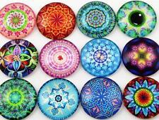 10pcs Mandala Style Handmade Glass Cabochons   25mm   Mixed Designs