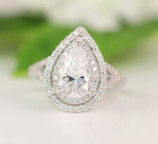 Certified 4.20CT Pear Cut Diamond Gorgeous Horney Ring For Bridal 14K White Gold