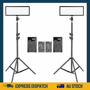 Neewer 2 Packs Super Slim LED Video Light with Light Stand Photography Lighting