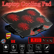 12-17'' USB Notebook Cooling Pad Mat 5 LED Fans Touch Cooler Stand Gaming Laptop