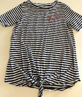 Girls Shirt Size 10-12 Old Navy Blue Stripes Be True Tie Front