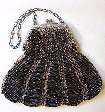 Antique Art Nouveau Gold Filigree Frame Tan Knitted Iridescent Purple Bead Purse