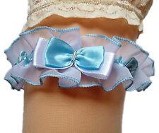Strumpfband Braut weiß blau hellblau mit Schleifen Röschen aus Satin und Tüll EU