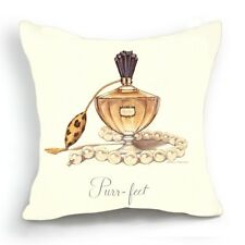 Retro Design 18'' Cushion Cover Pillow Case Beige Perfume Bottle Pearl Necklace