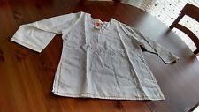 Sehr aparter Kameez, indische Bluse, weiß, beige-braune Stickerei, Gr. XL Damen