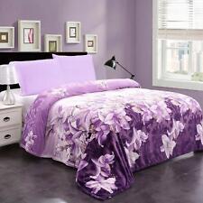 Floral Printed Micro Plush Blanket Flannel Fleece Blanket Bed Blanket Throw King