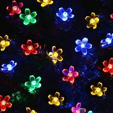 10.9m 100 Multi-Coloured LED Solar Cherry Blossom Christmas Lights Clean Wire