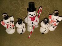 Vintage Hard Plastic Snowmen Christmas Figures Ornaments &  Candy Holders