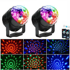 More details for 2x led disco stage light magic crystal ball rgb rotating party dj remote control