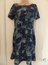 Next petite size 10 BNWT blue floral patterned silky unlined short sleeved dress