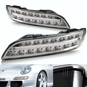 CLEAR LENS AMBER & WHITE LED DRL BUMPER LIGHTS LAMPS FIT 05-09 PORSCHE 911 997