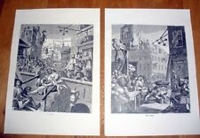 William Hogarth Gin Lane & Beer Street reproduction prints+ copy of story