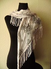 magnificent Scarf Stole with lace and Flowers 17 11/16x55 1/8in rose white brown