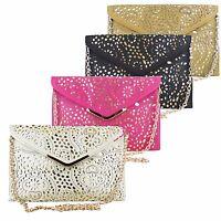 Ladies Vincenza Vintage Laser Cut Evening Leather Envelope Clutch Shoulder Bag