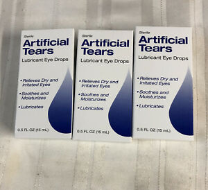 3 Sterile Artificial Tears Lubricant Eye Drops Exp Date 1/23