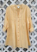 Ladies BLAIR 100% Cotton Button Up Blouse.  2 Shades of Yellow.  Size XL.