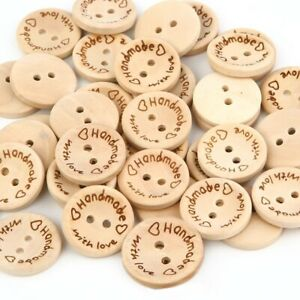 100PCS Natural Color Wooden Buttons Handmade Love Letter Wood Button Craft DIY