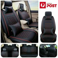 Deluxe Car Seat Cover PU Leather Cushions Full Set w/Pillows Accessories Size L